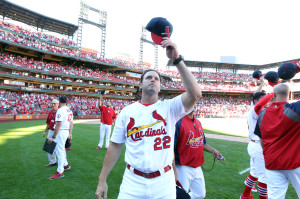 St. Louis Cardinals manager Mike Matheny tips his cap to the fans as players return to the field to salute the fans after a 4-0 victory over the Chicago Cubs at Busch Stadium in St. Louis on September 29, 2013. UPI/Bill Greenblatt
