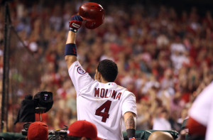 St. Louis Cardinals Yadier Molina tips his cap to the crowd after hitting a three run home run in the seventh inning against the Pittsburgh Pirates at Busch Stadium in St. Louis on September 6, 2013.   UPI/Bill Greenblatt
