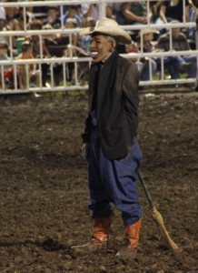 This picture was taken of the dummy wearing a President Obama mask during a routine at a rodeo at the State Fair.