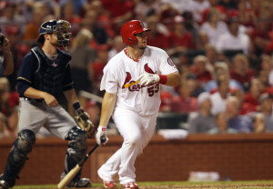 St. Louis Cardinals Matt Adams watchs his two run home run leave the park in the  eighth inning against the Milwaukee Brewers at Busch Stadium in St. Louis on September 11, 2013.   UPI/Bill Greenblatt