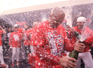 St. Louis Cardinals Carlos Beltran gets the celebration started with champagne as the team celebrates their 9-0 win over the Los Angeles Dodgers in Game 6 of the National League Championship Series at Busch Stadium in St. Louis on October 18, 2013. The Cardinals will now advance to the 2013 World Series. UPI/Bill Greenblatt
