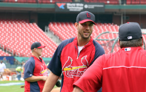 St. Louis Cardinals pitching ace Adam Wainwright talks with pitching coach Derek Lilliquist during a workout session at Busch Stadium in St. Louis on October 1, 2013. The St. Louis Cardinals will face the winner of the Cincinnati Reds-Pittsburgh Pirates game on October 4, 2013 for game one.   UPI/Bill Greenblatt