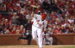 St. Louis Cardinals Yadier Molina slams his bat into the ground after lining out in the seventh inning against the Boston Red Sox in Game 5 of the World Series against the St. Louis Cardinals at Busch Stadium in St. Louis on October 28, 2013. Boston won the game 3-1 and now leads the series 3-2.     UPI/Bill Greenblatt