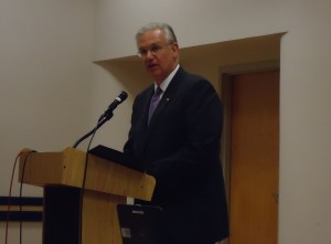 Governor Jay Nixon (D) addresses higher education leaders at a meeting on the Governor's Public Agenda for Higher Education.
