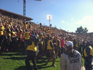 Mizzou players celebrate their victory over Florida in front of the student section. (Emily Dayton photo)