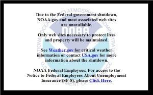 This message appears when one attempts to access the National Oceanic and Atmospheric Administration's main website, NOAA.gov.