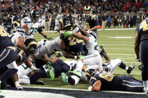 St.Louis Rams Daryl Richardson (26) os stopped at the one yard line by the Seattle Seahawks defense in the forth quarter at the Edwards Jones Dome in St. Louis on October 28,2013. The Seahawks defeated the Rams 14-9. UPI/Robert Cornforth
