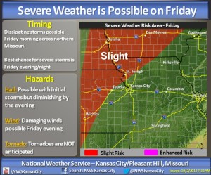 The National Weather Service office in Pleasant Hill created this graphic outlining the risk for severe weather later this week.