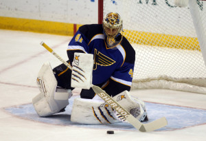 St. Louis Blues goaltender Jaroslav Halak makes a stop on a shot by the Minnesota Wild in the first period at the Scottrade Center in St. Louis on November 25, 2013. UPI/Bill Greenblatt