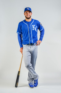 Eric Hosmer models the new alternative road jersey the Royals will start wearing in 2014.