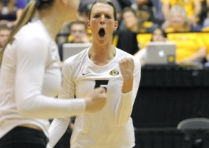 Lisa Henning reacts after one of his kills during Mizzou's win over Ole Miss (Photo, Mizzou Athletics)