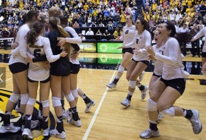 Mizzou volleyball players celebrate their regular season SEC championship (photo/MU  athletics)