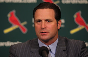 St. Louis Cardinals manager Mike Matheny comments on his contract extention at Busch Stadium in St. Louis on November 20, 2013. Matheny, who guided his team to the 2013 World Series in only his second year at the helm, has agreed to an extention through the 2017 season. UPI/Bill Greenblatt