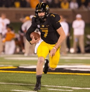 Maty Mauk runs with the football during the Tigers win over Tennessee (photo courtesy, MU athletics)