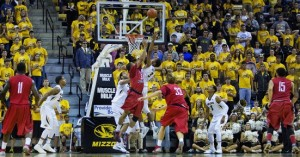 The Mules and Mizzou battle during an exhibition game Friday night at Mizzou Arena. (Photo, Mizzou Athletics)