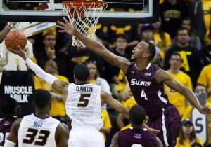Earnest Ross pushes the ball up the floor against Southeastern Louisiana. (Photo, Mizzou Athletics)