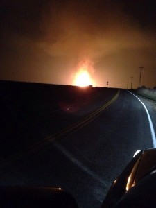 Representative Stanley Cox retweeted this photo taken by Frank Higgins of the fire resulting from an apparent pipeline rupture north of Sedalia.