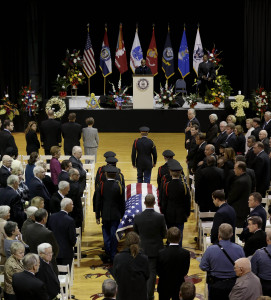 Cadets at Wentworth Military Academy carry a casket carrying the late former Missouri congressman Ike Skelton during his funeral service at the school Monday, Nov. 4, 2013, in Lexington, Mo. Skelton, who built a reputation as a military expert and social conservative during 34 years representing western and central Missouri in the U.S. House, died Oct. 28, 2013 in Virginia. He was 81. (AP Photo/Charlie Riedel)