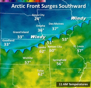 A National Weather Service graphic illustrates the cold front pushing south through Missouri today.