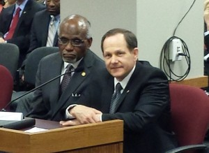 St. Louis County Executive Charlie Dooley (left) and St. Louis Mayor Francis Slay were among those that testified to two legislative committees in support of Boeing incentives.