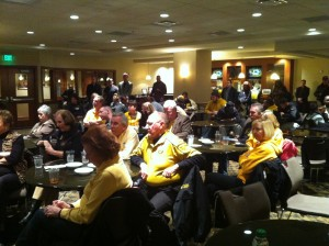Mizzou fans, football players and media gather at the Clinton Club at Mizzou Arena for the Cotton Bowl announcement.