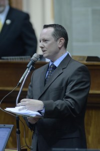 Rep. Eric Burlison (R-Springfield) takes to the House floor as the special session begins.