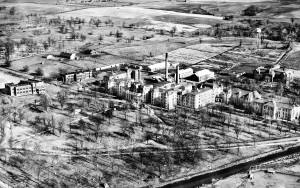This arial photo of Fulton State Hospital was taken in 1934, and shows many buildings that are gone including the main building destroyed by fire in the 1950s.  (courtesy; Craig C. Chapman of Cx3 Photography)