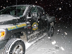 Captain Tim Hull says the Highway Patrol staged 4-wheel drive trucks like this one to be ready to respond to traffic crashes and to assist motorists during recent winter weather.