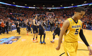 Missouri Tigers Jordan Clarkson walks off the court as the Illinois Illini begin to celebrate their 65-64 win in the Annual Braggin' Rights Game at the Scottrade Center in St. Louis on December 21, 2103.   UPI/Bill Greenblatt