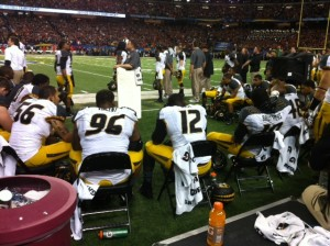 The Missouri Tigers defense tries to collect their thoughts during the SEC Championship game