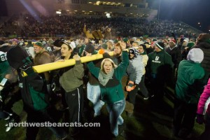 Fans bring down the goal posts as Northwest Missouri State wins their NCAA D-II football playoff game.  (Photo/NorthwestBearcats.com)