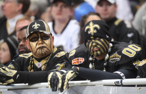 New Orleans Saints fans watch in disbelief as the seconds tick down against the St. Louis Rams at the Edward Jones Dome in St. Louis on December 15, 2013. St. Louis won the game 27-16.   UPI/Bill Greenblatt