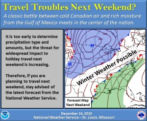 This graphic courtesy of the National Weather Service in St. Louis illustrates the possibility that a winter storm could be headed for Missouri this weekend, but stresses the high level of unpredictability this far ahead of any event.