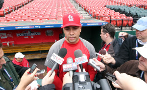 St. Louis Cardinals Carlos Beltran talks to reporters before Game 4 of the National League Championship Series against the San Francisco Giants at Busch Stadium in St. Louis on October 18, 2012.  Beltran injured his knee in Game 3 and is listed as day to day.     UPI/Bill Greenblatt