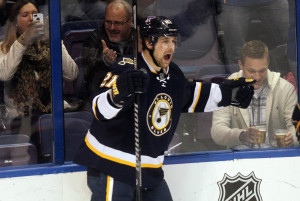 Patrik Berglund celebrates his goal in the third period against the Columbus Blue Jackets at the Scottrade Center in St. Louis on January 4, 2014.  The goal was Berglund's second of the game as St. Louis won the game 6-2.  UPI/Bill Greenblatt