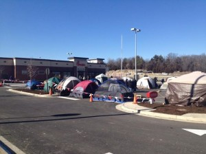 As many as 65 people set up tents, 24 hours in advance of the opening of the new Chick-Fil-A