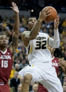 Jabari Brown scores two of his game high 24 points.  (Photo, Mizzou athletics)