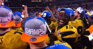 Dorial Green-Becham smiles as the Tigers celebrate their Cotton Bowl championship
