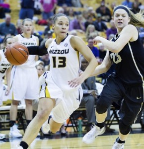 Bri Kulas drives around a Vandy defender. (Photo/Mizzou Athletics)