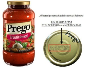 The FDA says consumers should not eat any jars of Prego Traditional Italian sauce with military time codes CT BJ ZV 0330 through CT BJ ZV 0449.
