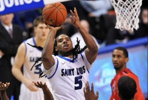 Jordair Jett goes up for shot over a Richmond defender.  Photo/SLU athletics