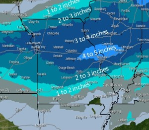 This graphic from the National Weather Service in St. Louis shows the predictions for snowfall through Thursday morning.