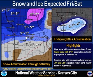 The latest weather graphic from the National Weather Service predicting snowfall totals through Saturday.