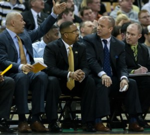 The Mizzou coaching staff looks on during a recent home game against Vandy (photo/Mizzou Athletics)