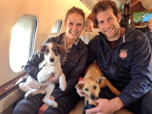 David and Kelly Backes with their two new friends from Sochi.