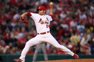 St. Louis Cardinals starting pitcher Jaime Garcia delivers a pitch to the Atlanta Braves in the second inning at Busch Stadium in St. Louis on April 28, 2010.   UPI/Bill Greenblatt
