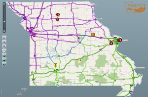 MODOT's Traveler Information Map at 6:45 a.m. on 02/01/2014.