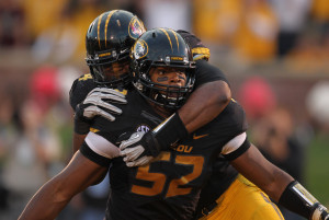 Former Missouri Tigers Michael Sam (52) shown in this September 15, 2012 file photo at Faurot Field in Columbia, Missouri has announced that he is gay, on February 9, 2014. Sam, a defensive end and 2014 NFL draft entrant told his story to ESPN and The New York Times. UPI/Bill Greenblatt