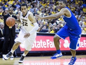 Jabari Brown drives to the basket during the Tigers game vs. Kentucky (photo/Mizzou Athletics)