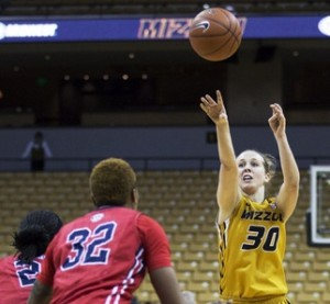 Morgan Eye shoots a jump shot against Ole Miss (Photo/Mizzou Athletics)